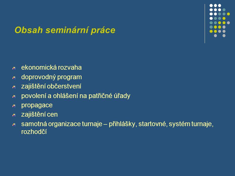 Obsah seminární práce ekonomická rozvaha doprovodný program zajištění občerstvení povolení a ohlášení na patřičné úřady propagace zajištění cen samotn