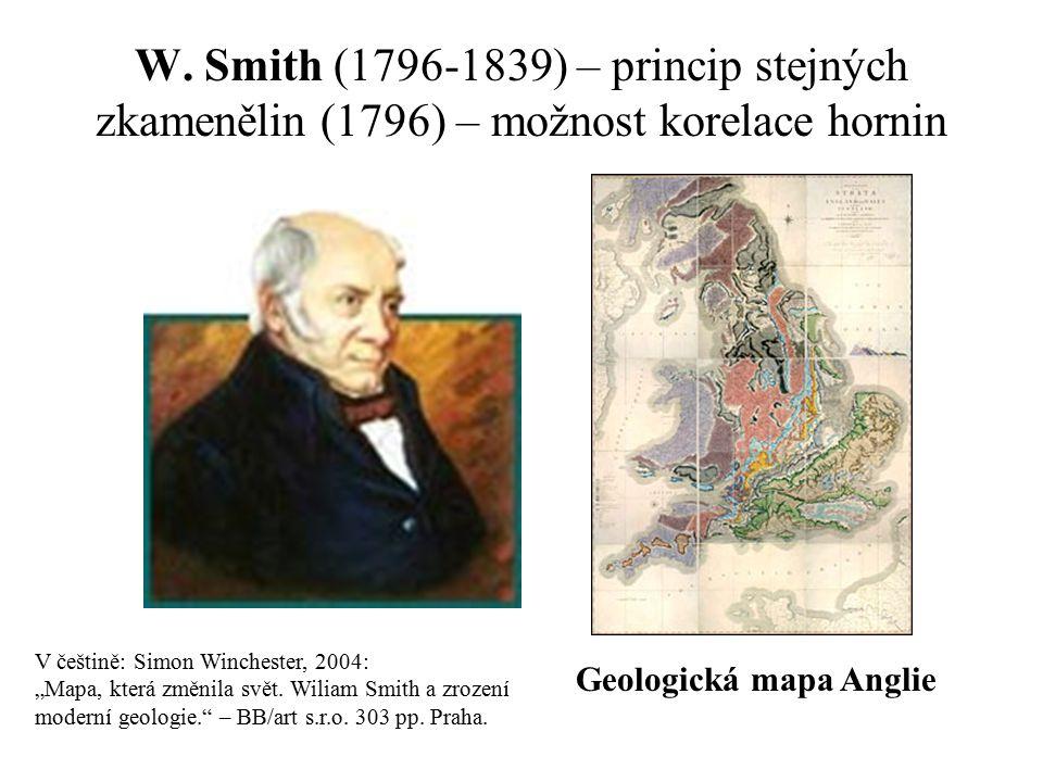"""W. Smith (1796-1839) – princip stejných zkamenělin (1796) – možnost korelace hornin Geologická mapa Anglie V češtině: Simon Winchester, 2004: """"Mapa, k"""
