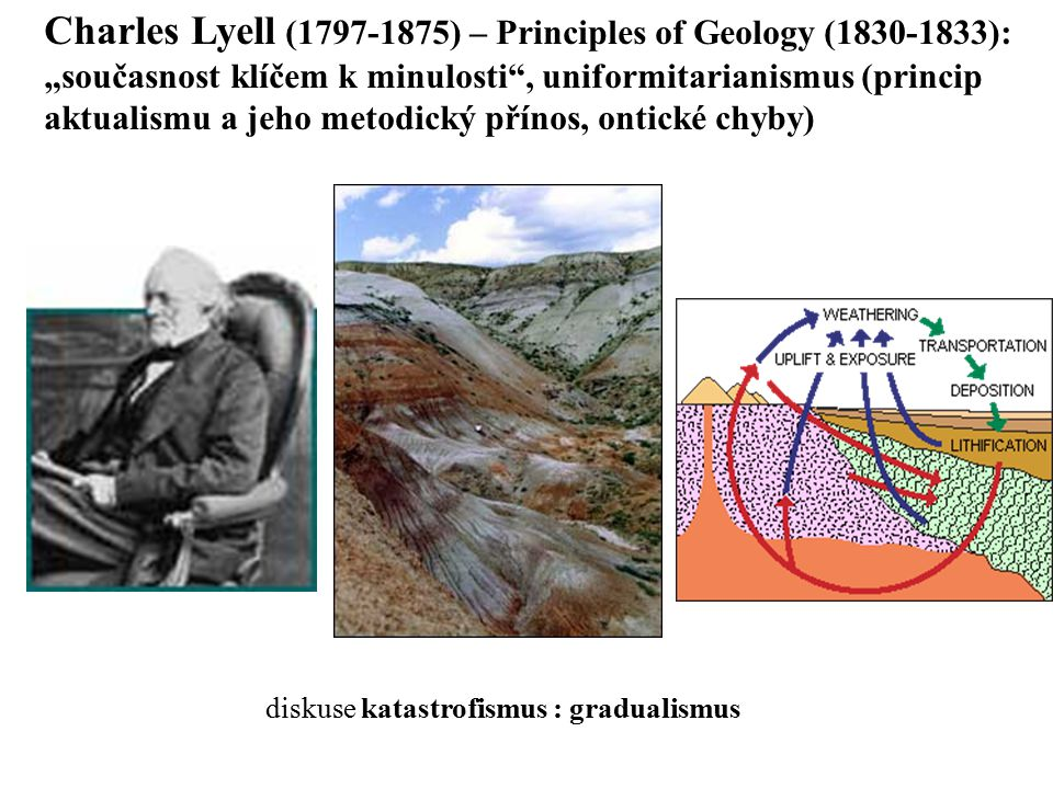 "diskuse katastrofismus : gradualismus Charles Lyell (1797-1875) – Principles of Geology (1830-1833): ""současnost klíčem k minulosti"", uniformitarianis"