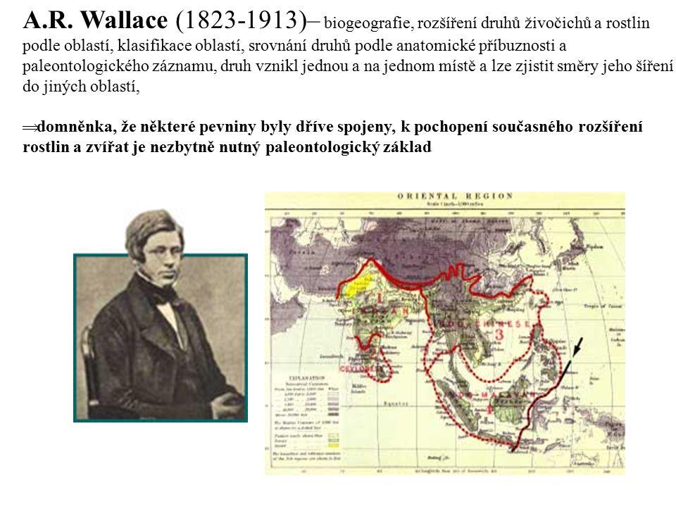 A.R. Wallace (1823-1913)– biogeografie, rozšíření druhů živočichů a rostlin podle oblastí, klasifikace oblastí, srovnání druhů podle anatomické příbuz