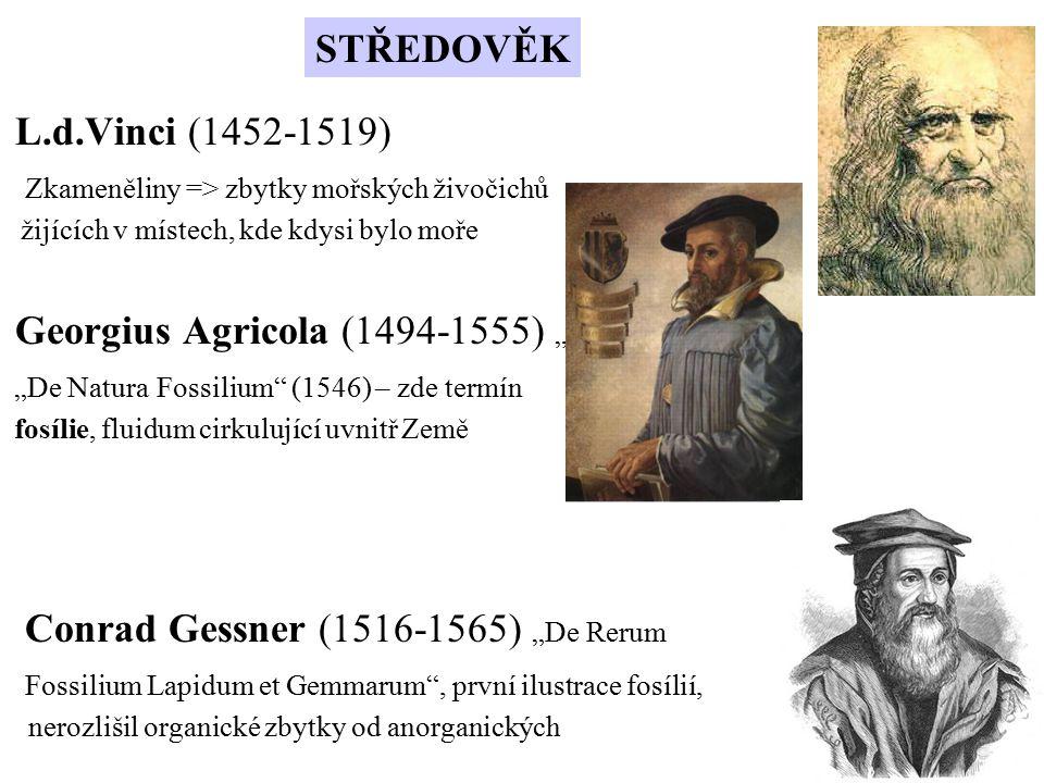 """L.d.Vinci (1452-1519) Zkameněliny => zbytky mořských živočichů žijících v místech, kde kdysi bylo moře Georgius Agricola (1494-1555) """" """"De Natura Foss"""