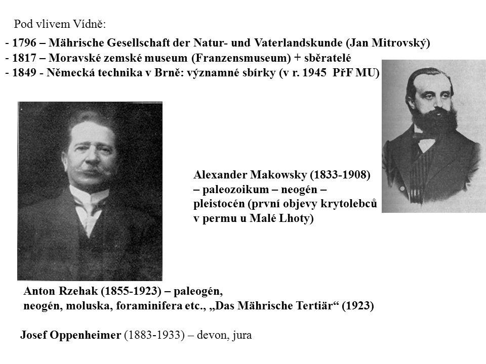 Pod vlivem Vídně: - 1796 – Mährische Gesellschaft der Natur- und Vaterlandskunde (Jan Mitrovský) - 1817 – Moravské zemské museum (Franzensmuseum) + sb
