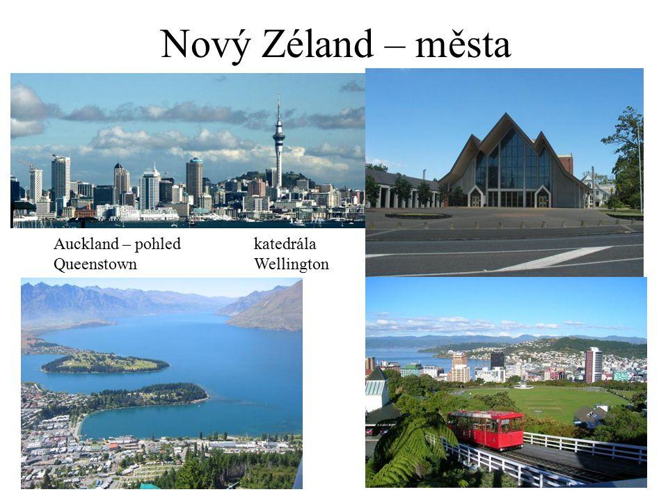 Nový Zéland – města Auckland – pohledkatedrála QueenstownWellington