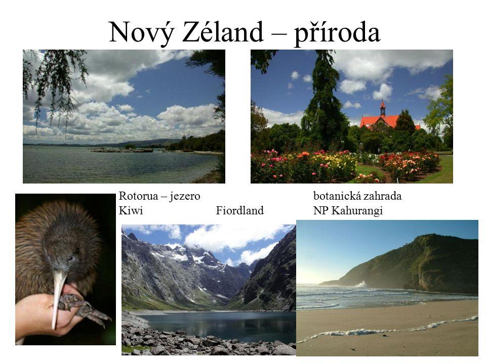 Nový Zéland – příroda Rotorua – jezerobotanická zahrada KiwiFiordlandNP Kahurangi