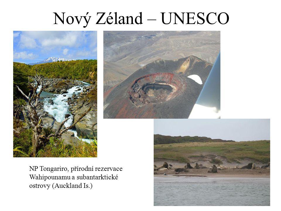 Nový Zéland – UNESCO NP Tongariro, přírodní rezervace Wahipounamu a subantarktické ostrovy (Auckland Is.)
