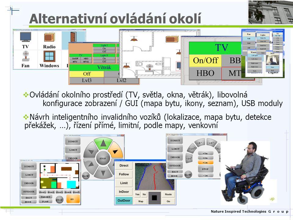 Nature Inspired Technologies G r o u p Alternativní ovládání okolí  Ovládání okolního prostředí (TV, světla, okna, větrák), libovolná konfigurace zob