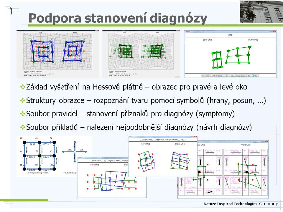 Nature Inspired Technologies G r o u p Podpora stanovení diagnózy  Základ vyšetření na Hessově plátně – obrazec pro pravé a levé oko  Struktury obra