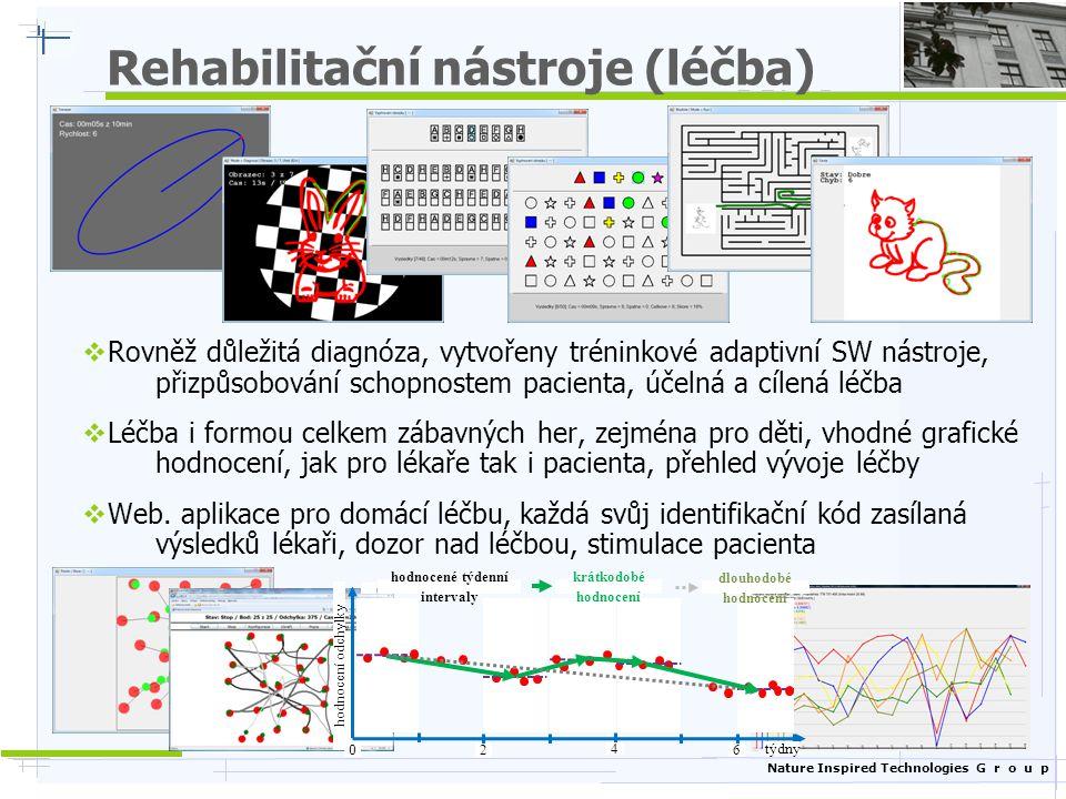 Nature Inspired Technologies G r o u p Rehabilitační nástroje (léčba)  Rovněž důležitá diagnóza, vytvořeny tréninkové adaptivní SW nástroje, přizpůso