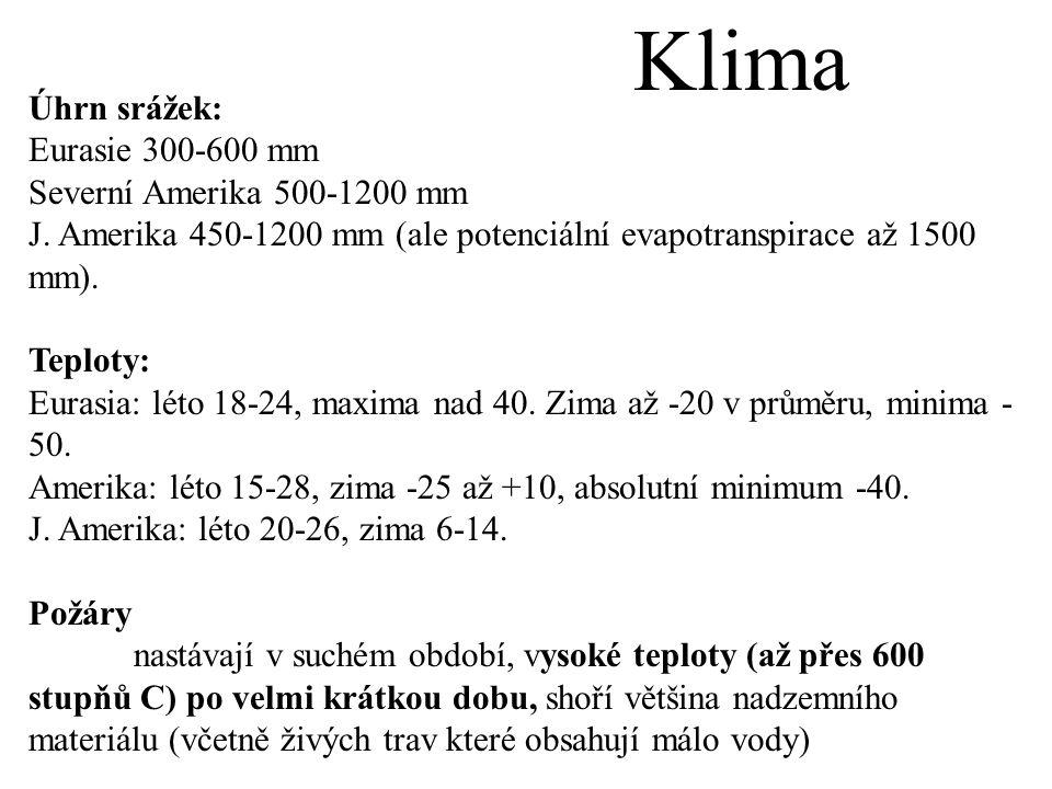 Klima Úhrn srážek: Eurasie 300-600 mm Severní Amerika 500-1200 mm J.