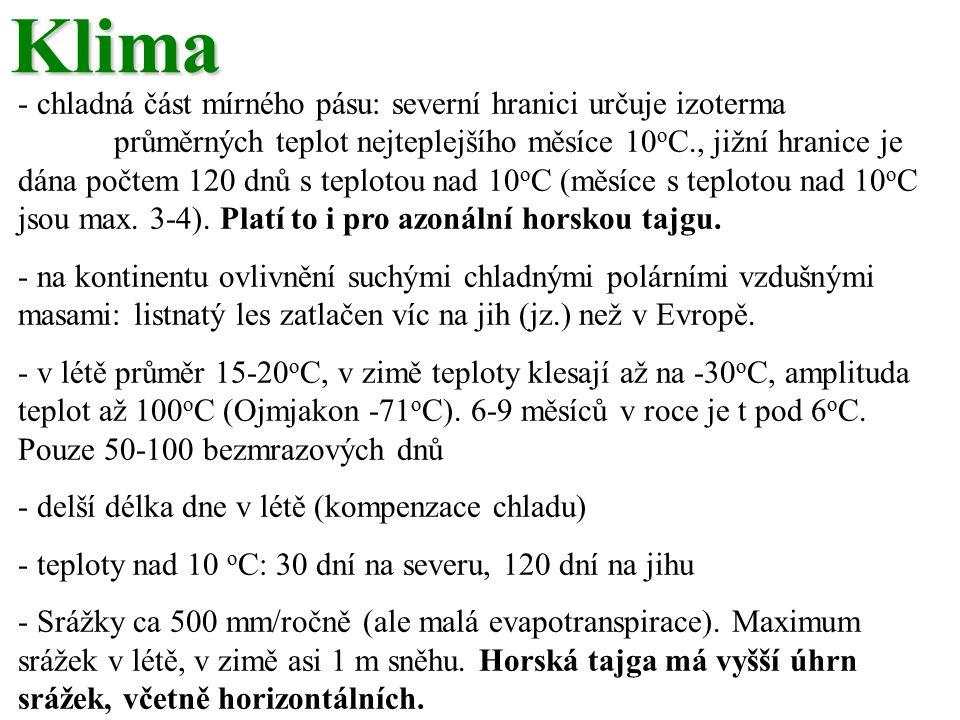 Klima - chladná část mírného pásu: severní hranici určuje izoterma průměrných teplot nejteplejšího měsíce 10 o C., jižní hranice je dána počtem 120 dnů s teplotou nad 10 o C (měsíce s teplotou nad 10 o C jsou max.