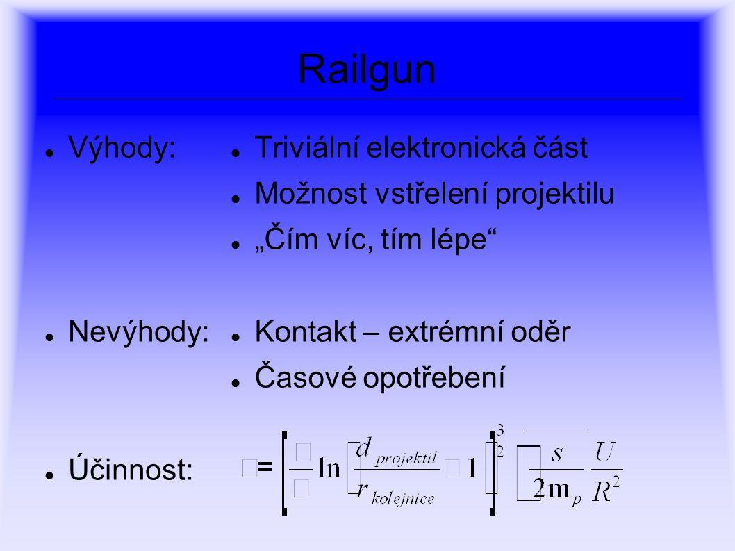 """Railgun Výhody: Nevýhody: Účinnost: Triviální elektronická část Možnost vstřelení projektilu """"Čím víc, tím lépe"""" Kontakt – extrémní oděr Časové opotře"""