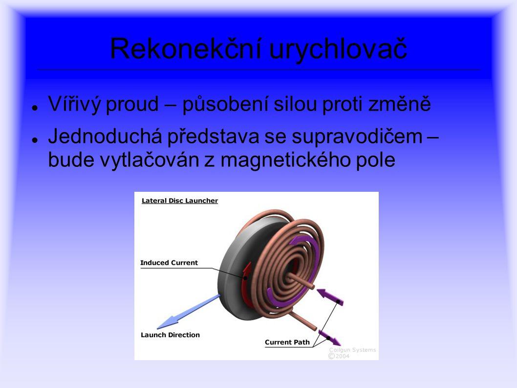 Rekonekční urychlovač Vířivý proud – působení silou proti změně Jednoduchá představa se supravodičem – bude vytlačován z magnetického pole