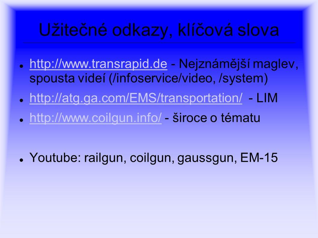 Užitečné odkazy, klíčová slova http://www.transrapid.de - Nejznámější maglev, spousta videí (/infoservice/video, /system) http://www.transrapid.de htt