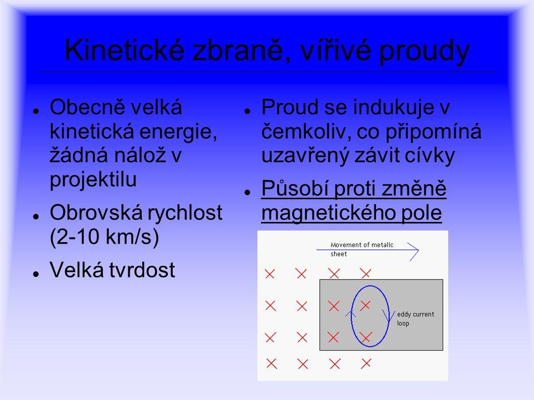 Kinetické zbraně, vířivé proudy Obecně velká kinetická energie, žádná nálož v projektilu Obrovská rychlost (2-10 km/s) Velká tvrdost Proud se indukuje