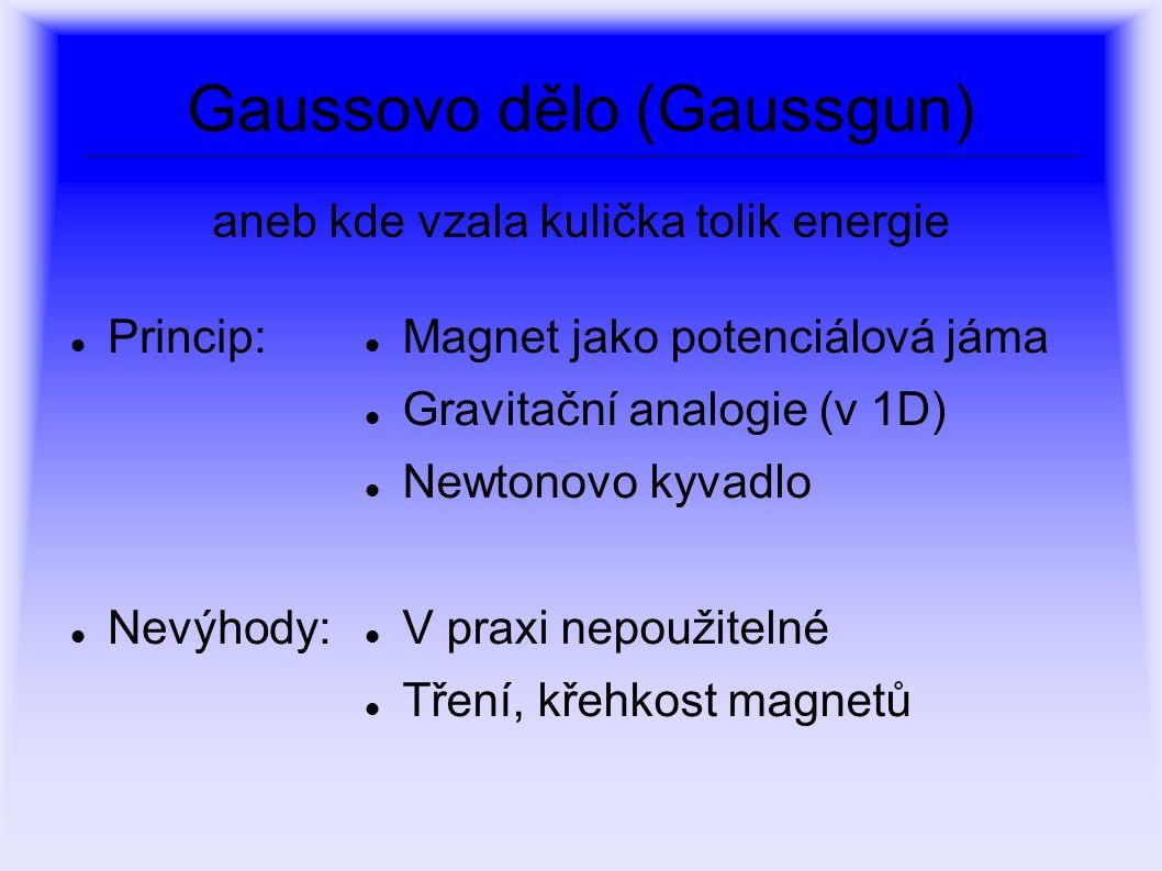 Gaussovo dělo (Gaussgun) Princip: Nevýhody: Magnet jako potenciálová jáma Gravitační analogie (v 1D) Newtonovo kyvadlo V praxi nepoužitelné Tření, kře