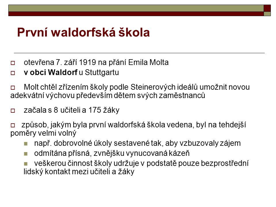 První waldorfská škola  otevřena 7. září 1919 na přání Emila Molta  v obci Waldorf u Stuttgartu  Molt chtěl zřízením školy podle Steinerových ideál