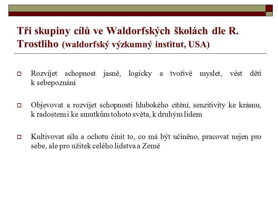 Tři skupiny cílů ve Waldorfských školách dle R. Trostliho (waldorfský výzkumný institut, USA)  Rozvíjet schopnost jasně, logicky a tvořivě myslet, vé