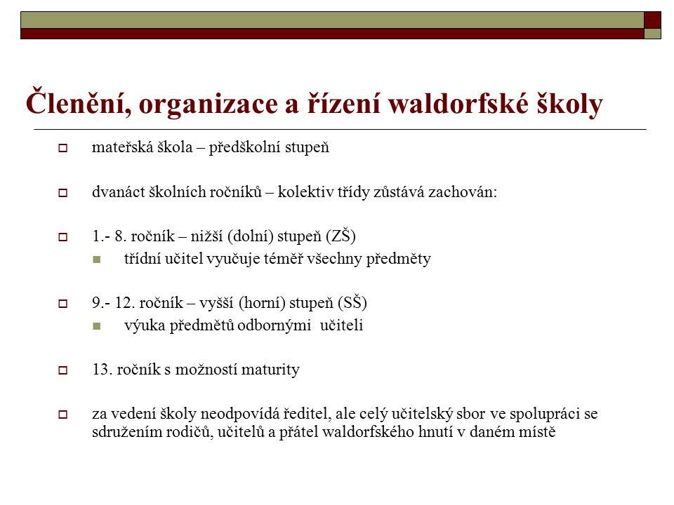 Členění, organizace a řízení waldorfské školy  mateřská škola – předškolní stupeň  dvanáct školních ročníků – kolektiv třídy zůstává zachován:  1.- 8.