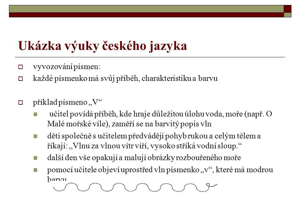 """Ukázka výuky českého jazyka  vyvozování písmen:  každé písmenko má svůj příběh, charakteristiku a barvu  příklad písmeno """"V učitel povídá příběh, kde hraje důležitou úlohu voda, moře (např."""
