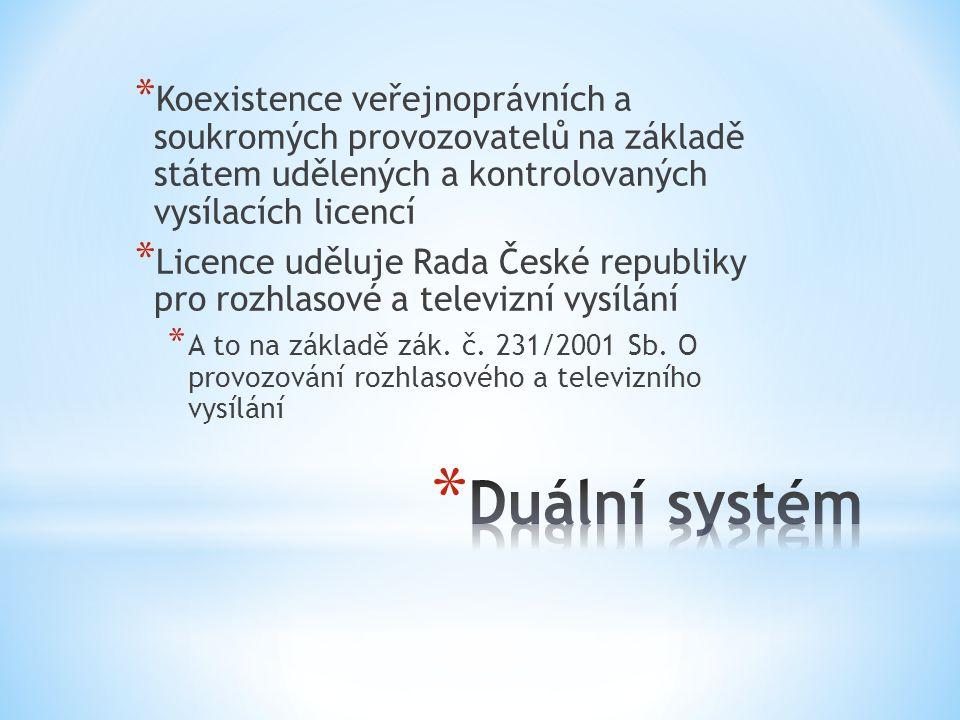 * Koexistence veřejnoprávních a soukromých provozovatelů na základě státem udělených a kontrolovaných vysílacích licencí * Licence uděluje Rada České republiky pro rozhlasové a televizní vysílání * A to na základě zák.