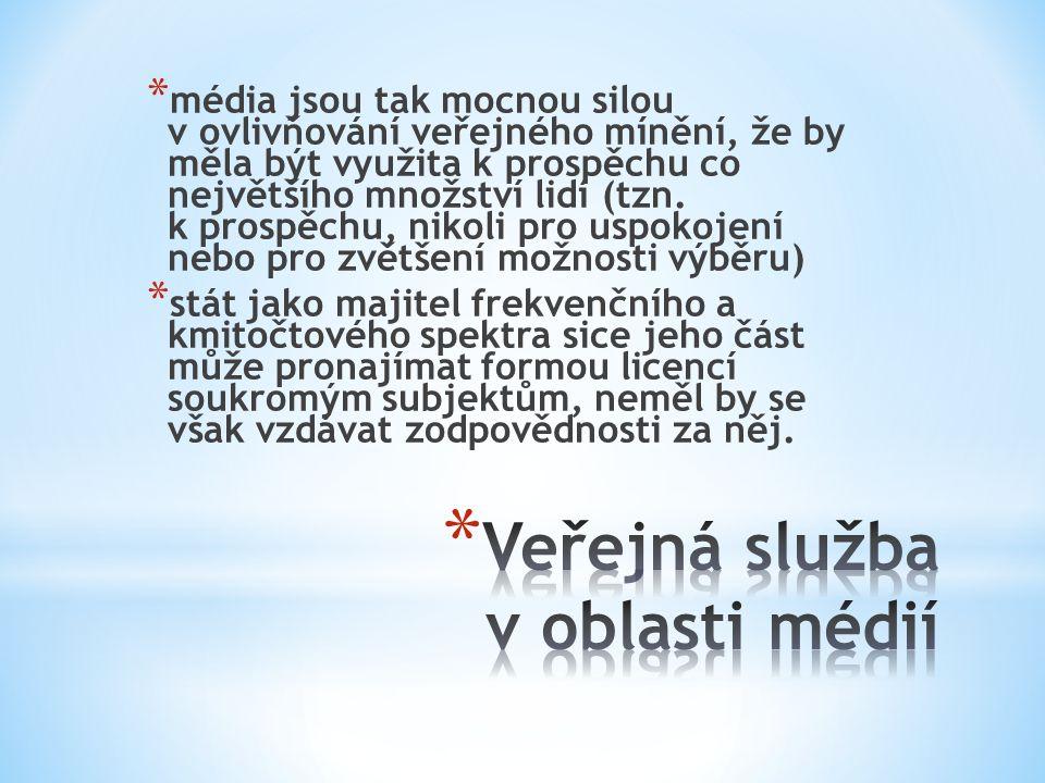 * média jsou tak mocnou silou v ovlivňování veřejného mínění, že by měla být využita k prospěchu co největšího množství lidí (tzn. k prospěchu, nikoli
