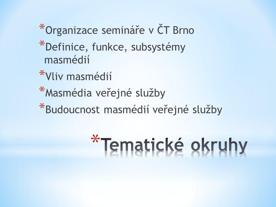 * Organizace semináře v ČT Brno * Definice, funkce, subsystémy masmédií * Vliv masmédií * Masmédia veřejné služby * Budoucnost masmédií veřejné služby