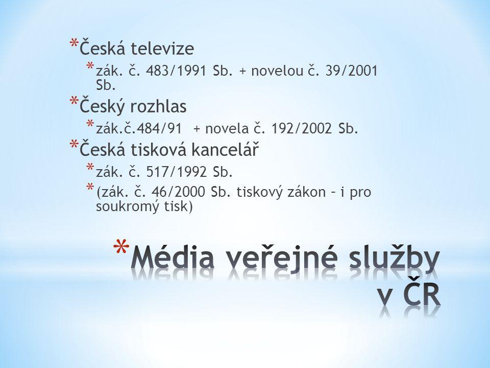 * Česká televize * zák. č. 483/1991 Sb. + novelou č.