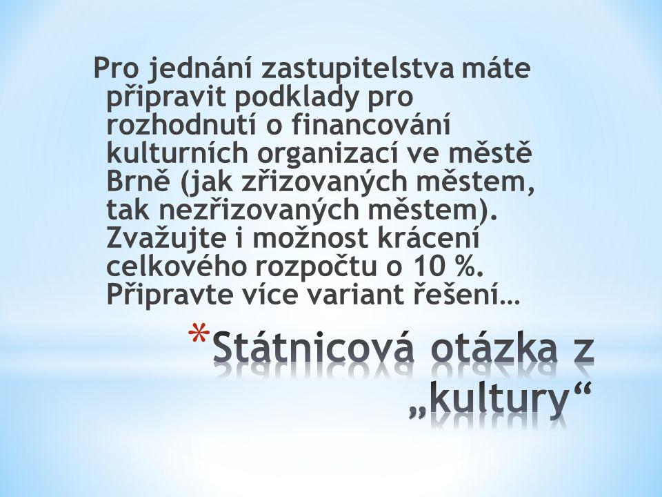 Pro jednání zastupitelstva máte připravit podklady pro rozhodnutí o financování kulturních organizací ve městě Brně (jak zřizovaných městem, tak nezřizovaných městem).