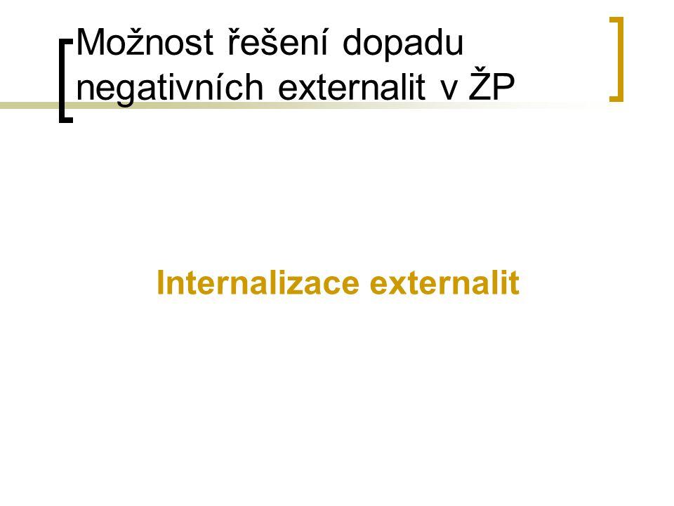 Možnost řešení dopadu negativních externalit v ŽP Internalizace externalit