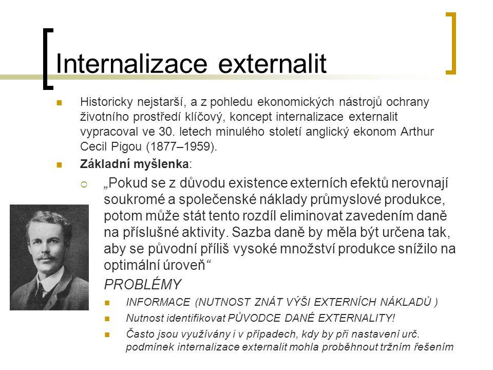 Historicky nejstarší, a z pohledu ekonomických nástrojů ochrany životního prostředí klíčový, koncept internalizace externalit vypracoval ve 30. letech