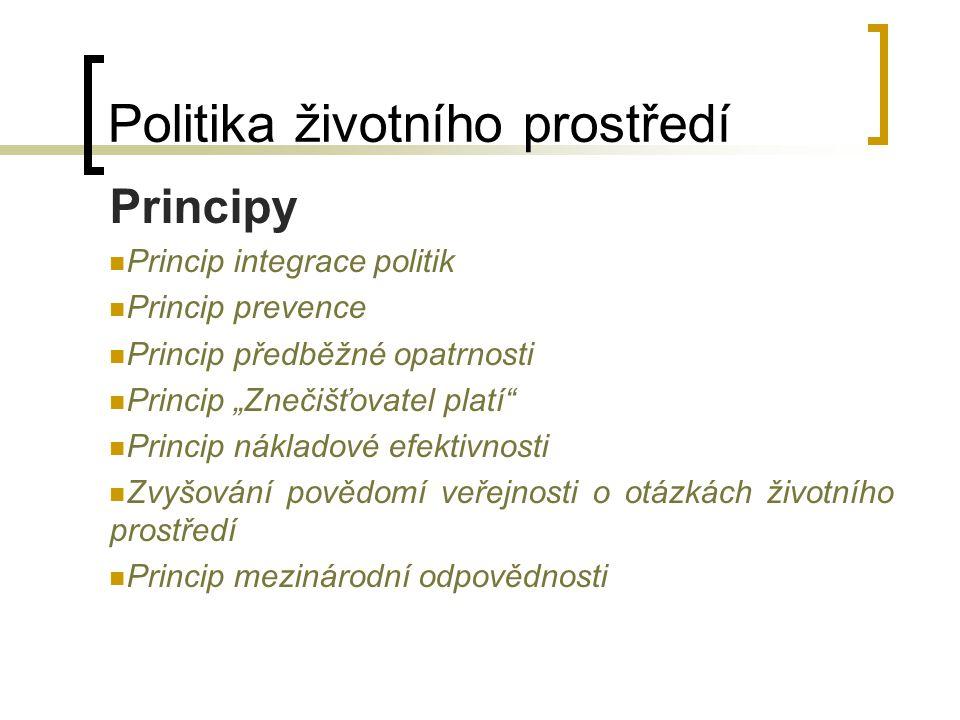 "Politika životního prostředí Principy Princip integrace politik Princip prevence Princip předběžné opatrnosti Princip ""Znečišťovatel platí"" Princip ná"