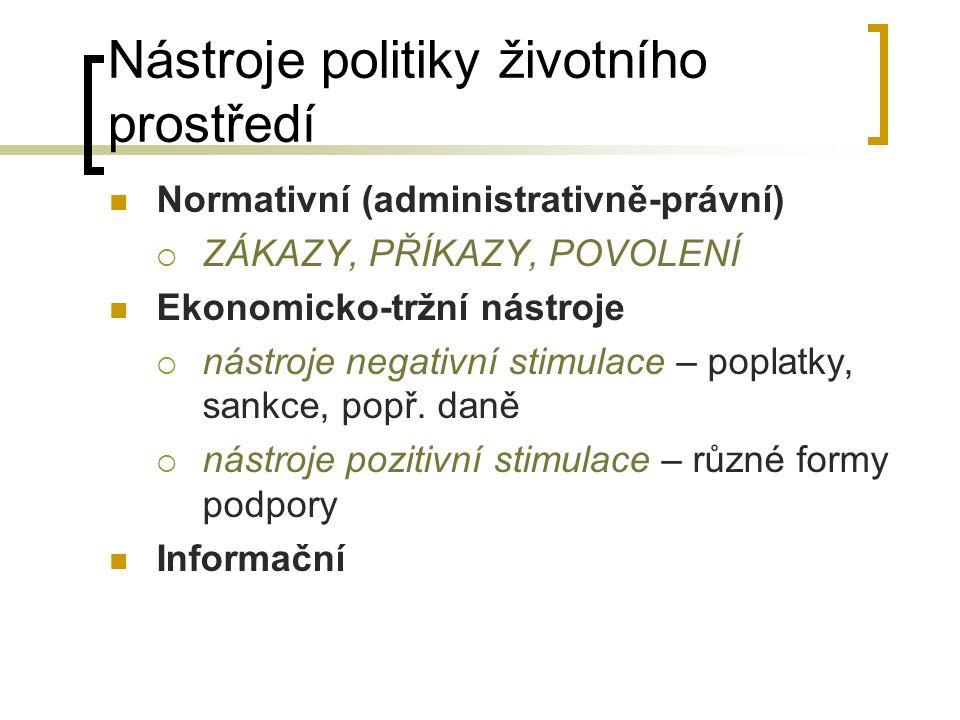 Nástroje politiky životního prostředí Normativní (administrativně-právní)  ZÁKAZY, PŘÍKAZY, POVOLENÍ Ekonomicko-tržní nástroje  nástroje negativní s