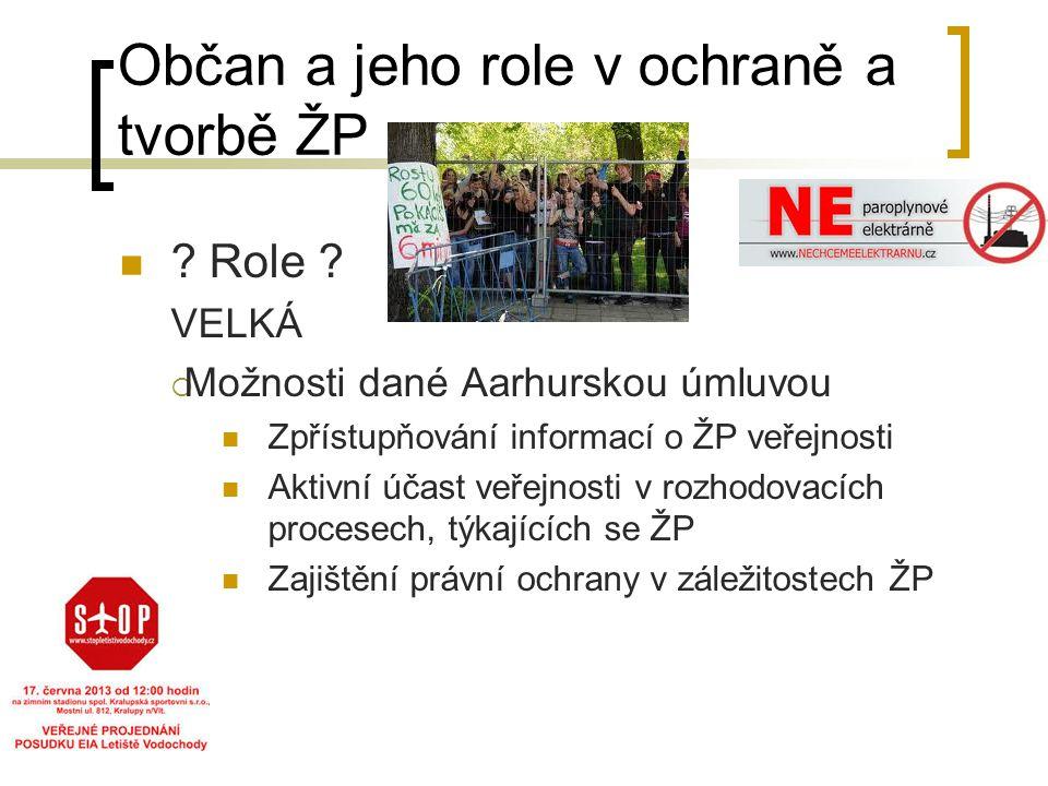 Občan a jeho role v ochraně a tvorbě ŽP ? Role ? VELKÁ  Možnosti dané Aarhurskou úmluvou Zpřístupňování informací o ŽP veřejnosti Aktivní účast veřej