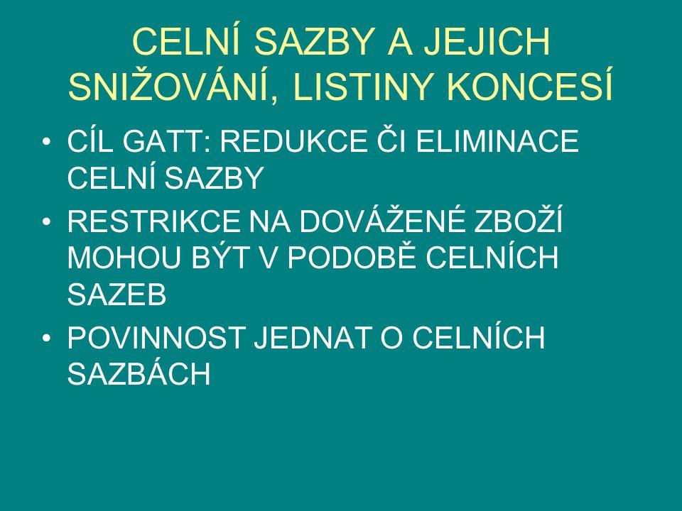 KVANTITATIVNÍ RESTRIKCE ZÁKLADNÍ ÚPRAVA ČLÁNEK XI ODST.