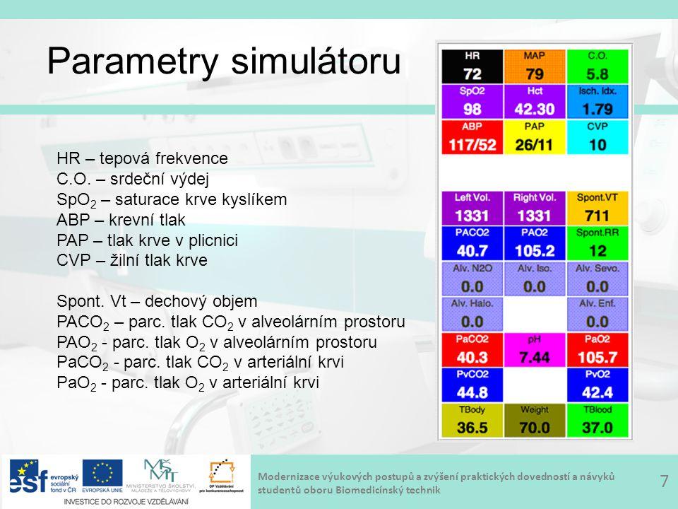 Modernizace výukových postupů a zvýšení praktických dovedností a návyků studentů oboru Biomedicínský technik Parametry simulátoru 7 HR – tepová frekve
