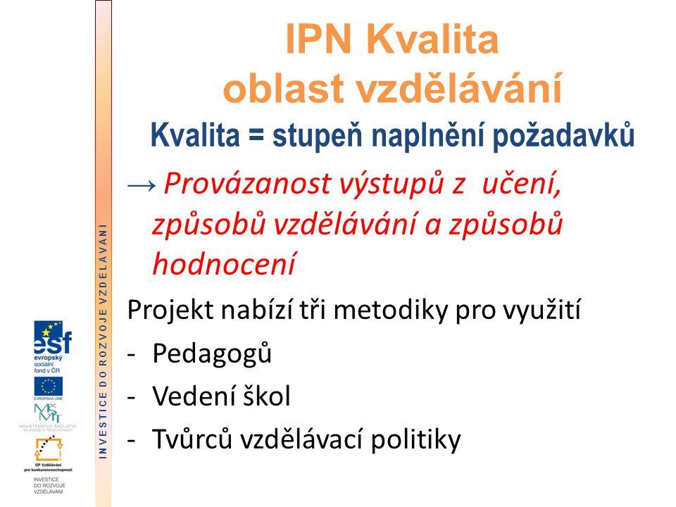 DĚKUJI ZA POZORNOST kompletní informace o výstupech IPN Kvalita v oblasti vzdělávání dostupná: -mezinárodní konference 23.