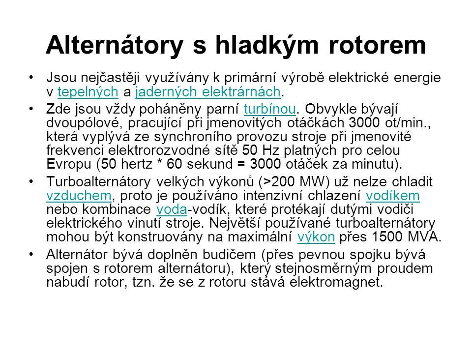 Alternátory s vyniklými póly rotoru Mají široké využití, od malých alternátorů v osobních automobilech a na jízdních kolech až po velmi výkonné alternátory ve vodních a větrných elektrárnách.automobilechvodních větrných Jsou vícepólové (4,6,8,12 až např.