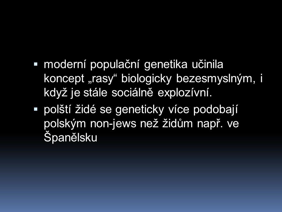 """ moderní populační genetika učinila koncept """"rasy"""" biologicky bezesmyslným, i když je stále sociálně explozívní.  polští židé se geneticky více podo"""