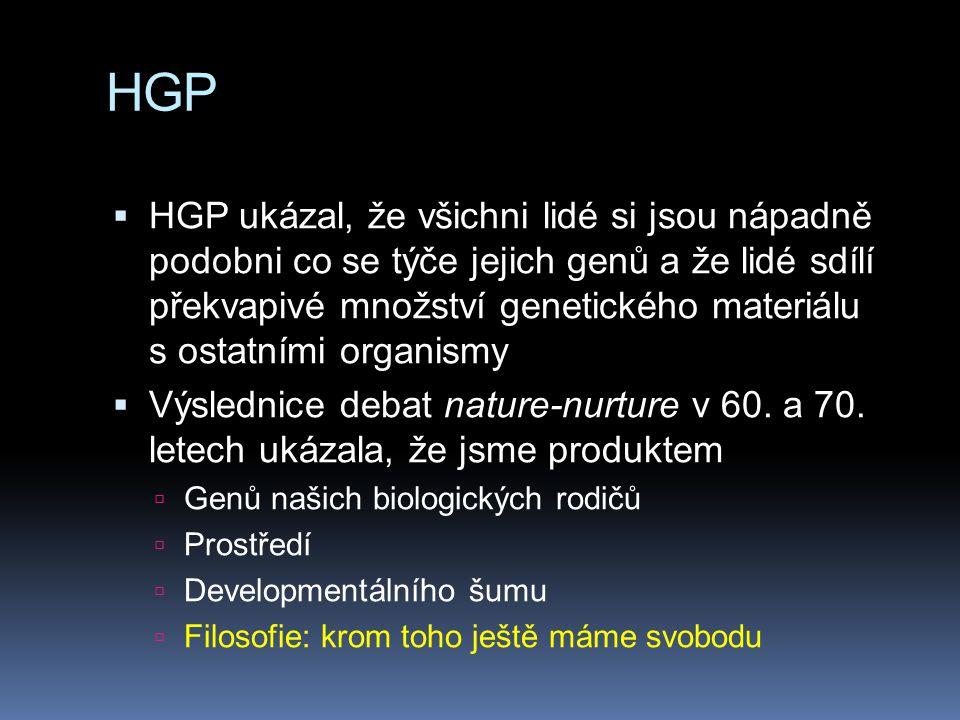 HGP  HGP ukázal, že všichni lidé si jsou nápadně podobni co se týče jejich genů a že lidé sdílí překvapivé množství genetického materiálu s ostatními