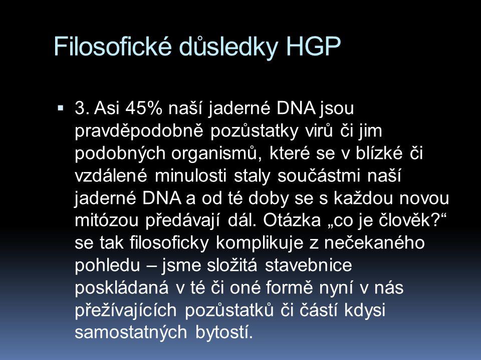 Filosofické důsledky HGP  3. Asi 45% naší jaderné DNA jsou pravděpodobně pozůstatky virů či jim podobných organismů, které se v blízké či vzdálené mi