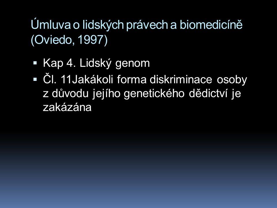 Úmluva o lidských právech a biomedicíně (Oviedo, 1997)  Kap 4. Lidský genom  Čl. 11Jakákoli forma diskriminace osoby z důvodu jejího genetického děd