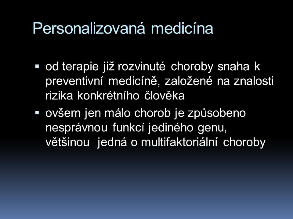 Personalizovaná medicína  od terapie již rozvinuté choroby snaha k preventivní medicíně, založené na znalosti rizika konkrétního člověka  ovšem jen