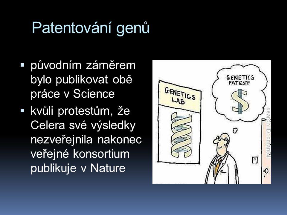 Patentování genů  původním záměrem bylo publikovat obě práce v Science  kvůli protestům, že Celera své výsledky nezveřejnila nakonec veřejné konsort