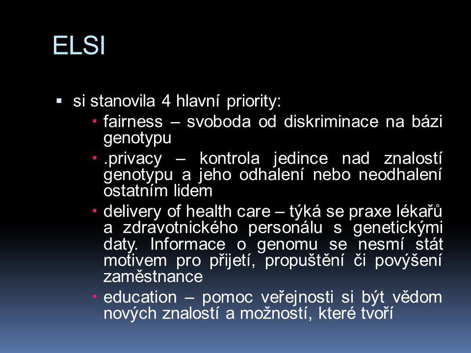 ELSI  si stanovila 4 hlavní priority:  fairness – svoboda od diskriminace na bázi genotypu .privacy – kontrola jedince nad znalostí genotypu a jeho odhalení nebo neodhalení ostatním lidem  delivery of health care – týká se praxe lékařů a zdravotnického personálu s genetickými daty.