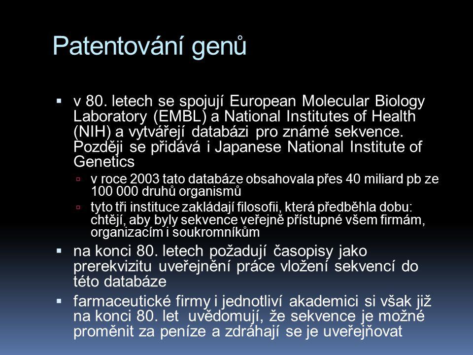 Patentování genů  v 80.