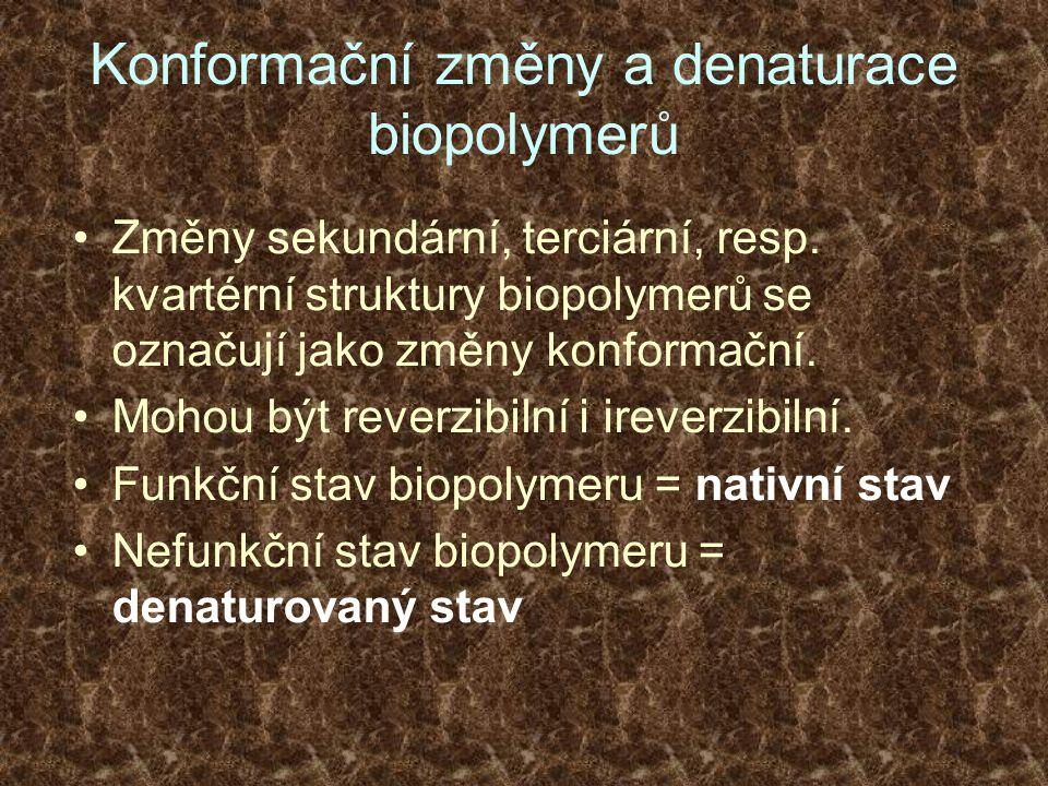 Konformační změny a denaturace biopolymerů Změny sekundární, terciární, resp. kvartérní struktury biopolymerů se označují jako změny konformační. Moho