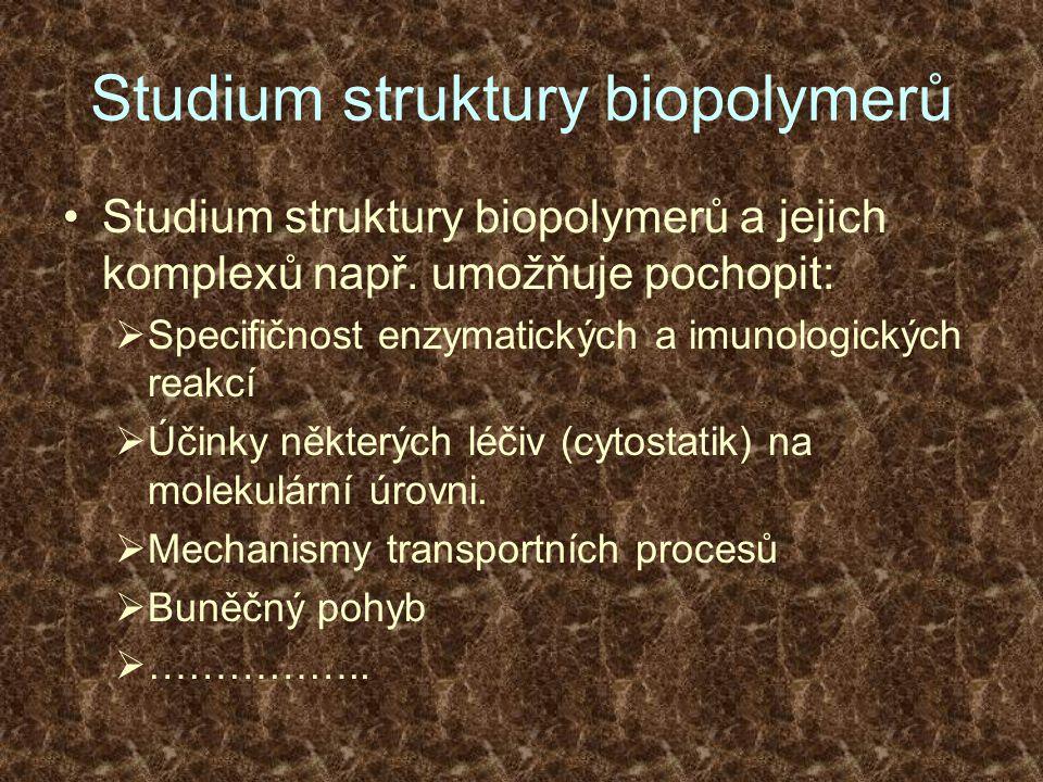 Studium struktury biopolymerů Studium struktury biopolymerů a jejich komplexů např. umožňuje pochopit:  Specifičnost enzymatických a imunologických r
