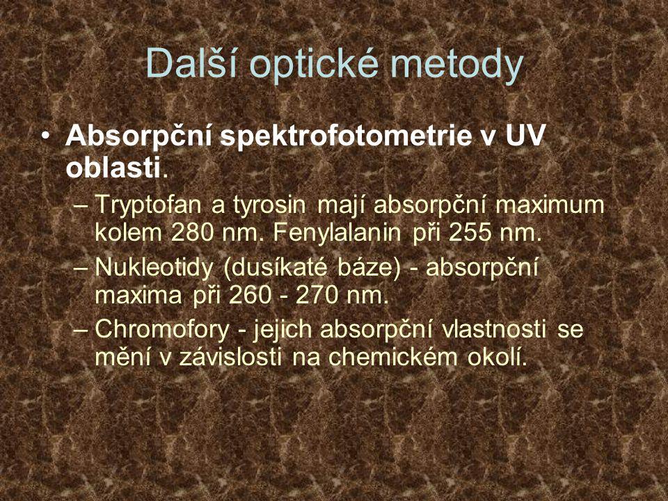 Další optické metody Absorpční spektrofotometrie v UV oblasti. –Tryptofan a tyrosin mají absorpční maximum kolem 280 nm. Fenylalanin při 255 nm. –Nukl