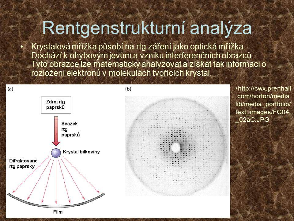 Rentgenstrukturní analýza Krystalová mřížka působí na rtg záření jako optická mřížka. Dochází k ohybovým jevům a vzniku interferenčních obrazců. Tyto
