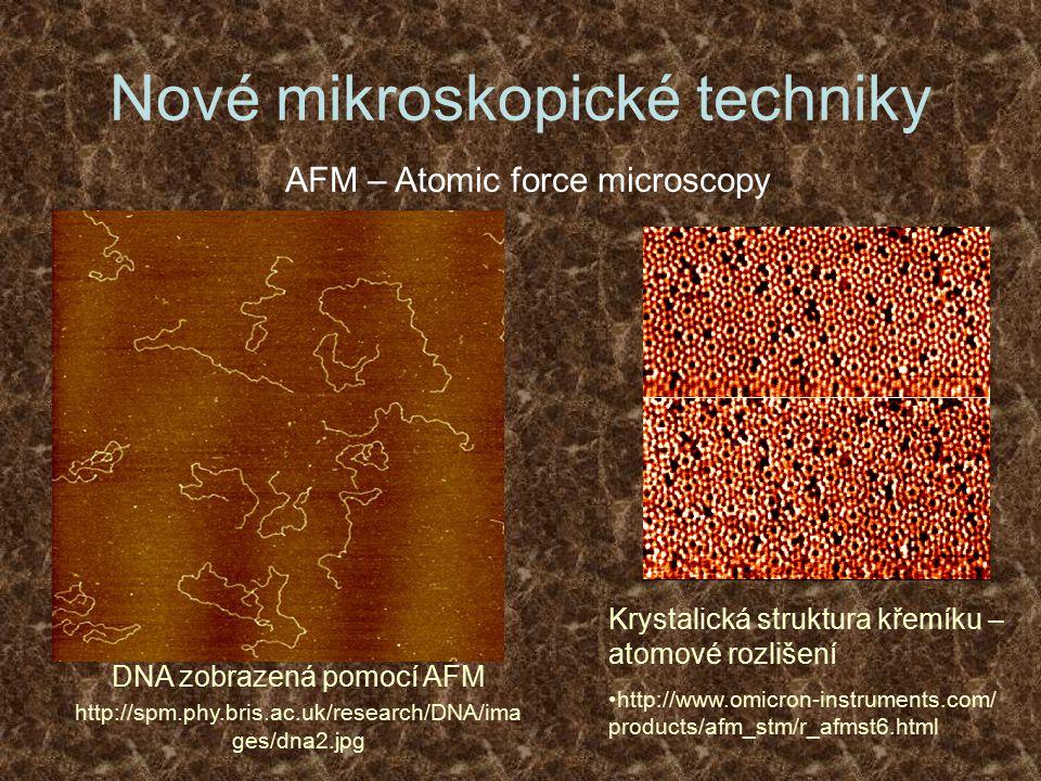 Nové mikroskopické techniky AFM – Atomic force microscopy Krystalická struktura křemíku – atomové rozlišení http://www.omicron-instruments.com/ produc